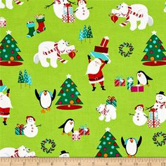 Designed by Sarah Frederking for Studio E, this cotton print collection adds a whimsical touch to christmas. Perfect for quilting, apparel, and home decor accents. Colors include lime green, shades of pink, magenta, aqua, orange, red, white, and grey.