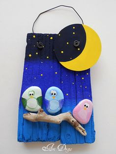 painted rocks and drift wood - night owls - moon - stars Art For Kids, Crafts For Kids, Arts And Crafts, Painted Rocks, Hand Painted, Craft Projects, Projects To Try, Rock And Pebbles, Owl Crafts