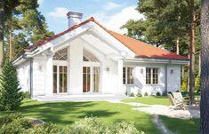 Zdjęcie projektu Dom na Parkowej 2 WAH1845 Small Villa, Luxury House Plans, Home Fashion, Home Renovation, Gazebo, Shed, Exterior, Outdoor Structures, House Design