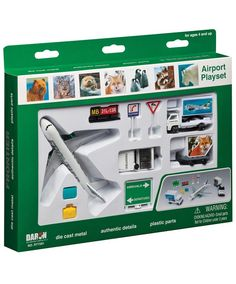 The 10 piece Frontier Airlines play set includes a die cast Frontier Jet, 2 Frontier Airlines support vehicles, as well as airport signs and cones. This Frontier Airport toy set is recommended for ages Airport Signs, Service Bus, Plastic Cast, Airplane Toys, Cool Toys, Awesome Toys, Metal Casting, Cool Cartoons, Plastic Models