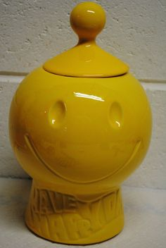 vintage McCoy USA 'Have a Happy Day' smiley happy face cookie jar