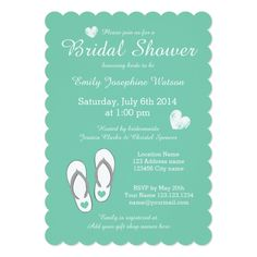 Mint green beach theme bridal shower invitations