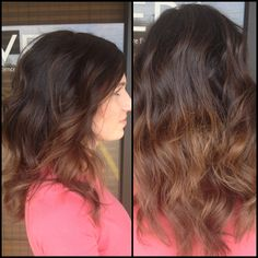 Color and Cut designed by Amberly Colina at American Salon. Gainesville, Georgia. 770.536.4247 #ombre #brunette #caramel #fallhair #balayage