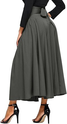 2dd3e20ec0 Asvivid Women's High Waist Pleated A Line Long Skirt Front Slit Belted Maxi  Skirt S-XXL - best woman's fashion products designed to provide