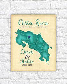 Costa Rica Wedding Honeymoon Anniversary Travel Gift, Personalized Art Map, San Jose, Alajuela, Spanish, Destination Wedding Beach Theme