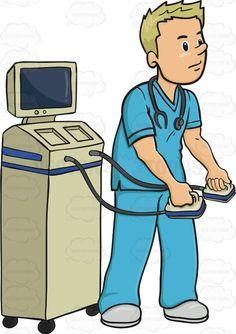 Male Nurse In Blue Scrubs Is Holding Paddles To Revive Someone #cardiac #cardiovascular #clear #defib #defibrillation #defibrillator #heart #heartattack #heartrhythm #male #man #nurse #paddles #shock #voltage