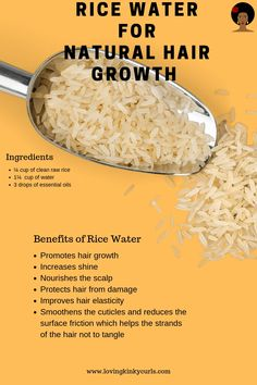 If you have never tried rice water on your natural hair then you are missing out! Try this recipe in your natural hair care routine and your hair will flourish. Rice water has several great benefits for healthy hair growth hair remedies Pelo Natural, Natural Hair Tips, Natural Hair Journey, Natural Hair Styles, Natural Skin, Natural Hair Recipes, Natural Beauty, Black Natural Hair Care, Natural Hair Braids