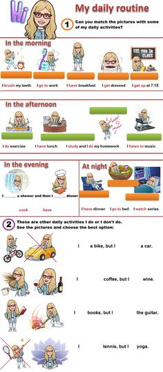 My daily routine online pdf exercise Daily Routine Worksheet, Daily Routines, Boxing Routine, Worksheets, Simple Present Tense, School Subjects, Teaching English, Esl, English Language