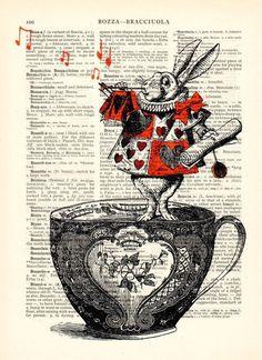 Pochoirs, Alice au pays des merveilles art illustration est une création orginale de Dictionary-vintage-book-page sur DaWanda: