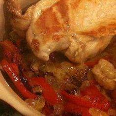 Kurczak ze skarmelizowaną cebulą i papryką
