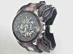 leon / Ručne robený šedo čierny kožený remienok s hodinkami