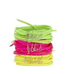 Little Letter Neon Wrap Bracelet  by dalla nonna | Charm & Chain #littleletters #personalizedjewelry