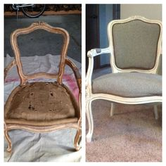 Queen Anne Chair redone. I painted it in an antique white with silver glaze. It turned out beautiful.