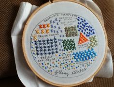 drop cloth: Sampler of the Month: Embroidered Filling Stitches Embroidery Sampler, Hand Embroidery Stitches, Cross Stitch Embroidery, Hand Stitching, Embroidery Patterns, Craft Work, Needle And Thread, Needlework, June