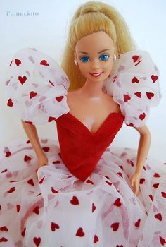 1983- Loving you Barbie.....Yep, again Gramma bought this doll for me for Valentine's Day! I loved the lil red hearts on her dress :)