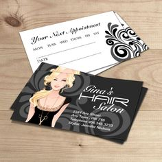 Fully customizable hair salon business card template created by Colourful Designs Inc.
