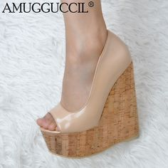 cacfb9835f8 2019 New Arrival Plus Big Size 34-52 Nude Fashion 15CM High Heel Platform Girls  Females Lady Wedge Shoes Women Pumps D1173
