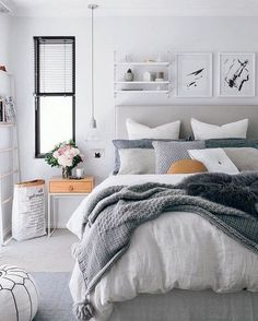 Home Interior Plants 40 Grey and White Bedroom Ideas.Home Interior Plants 40 Grey and White Bedroom Ideas Small Master Bedroom, Master Bedroom Design, Home Decor Bedroom, Bedroom Designs, Master Suite, Bedroom Furniture, Small Bedrooms, Teen Bedroom, Bedroom Bed