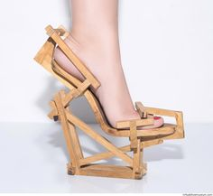 Inspired by wood constructions, 2015. The shoes where the product of the shoe course at the Bezalel Academy of art and design, with professor Eliora Lemmer Ginsburg. © Gal Souva, photo by Roni Mattes.