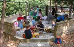 I like this enclosed sand area! Outdoor Classroom, Classroom Ideas, Patio Ideas, Outdoor Ideas, Gravel Pit, Bright Horizons, Outdoor Play Spaces, Kids Sand, Future School