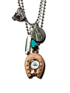 """one-of-a-kind """"found object"""" necklace - made entirely of antiques, i like the design very much."""