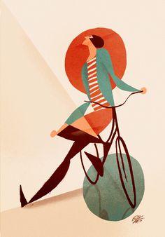 """""""Donna con bicicletta, pozzanghera e cerchio rosso""""Riccardo Guasco 2015"""