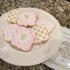 1 doz Monogram pink and gold cookies