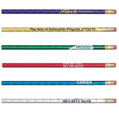 When school or work really takes a lot out of them, return the glimmer to your customers' and students' eyes with the Glitz Pencil! These pencils have a prism foil design that makes them sparkle and shine. They're guaranteed to light up any office or classroom. Made of quality wood, it features a high density rubber eraser and Number 2 graphite insert. With several colors available, enhance your imprint with this intriguing design!