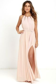 This blush pink gown is perfect for a summer wedding for a guest or for bridesmaids ... Gleam and Glide Blush Pink Maxi Dress at Lulus.com!