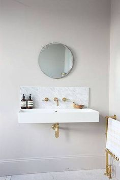 Marble & Brass Home Decor Guide white bathroom