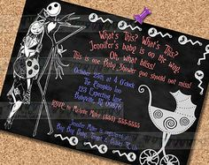 Nightmare before christmas baby shower invitation party package nightmare before christmas baby shower invitations chalkboard invites halloween horror movies other party supplies sold seperately filmwisefo