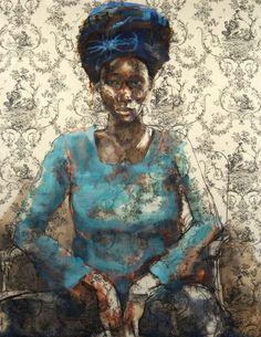 Florent Moutti- peinture sur fond de Toile de Jouy