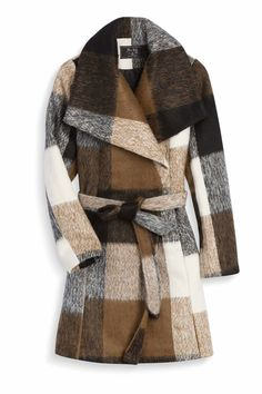 Love this pattern! Brown, grey, white block plaid coat. Would probably wear without the belt if there are hidden buttons or zipper.