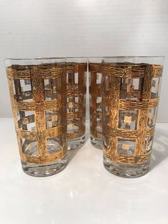 Items similar to Vintage Drinking Glasses Highball Icetea 4 PC Set Gold Plated Cottage Chic on Etsy