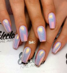 Bubblegum pink nail designs holographic nails, gel nails и c Cute Acrylic Nails, Acrylic Nail Designs, Nail Art Designs, Chrome Nails Designs, Fancy Nails, My Nails, Sparkly Nails, Shiny Nails, Rave Nails