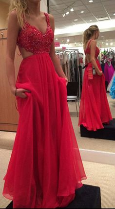 Spaghetti Strap Lace Bodice Prom Dress,Red Prom Gown,Chiffon Backless Prom Dress,Red Long Formal Gown 2017,Sleeveless Prom Gowns,Sexy Prom Dress,A-line Chiffon Prom Dress With Beaded