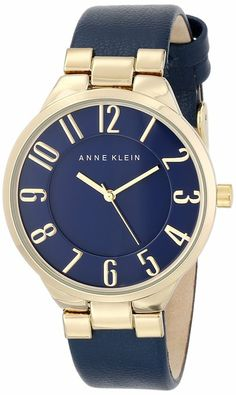 Anne Klein Women's AK/1618NVNV Gold-Tone Case Easy-to-Read Dial Navy Leather Strap Watch