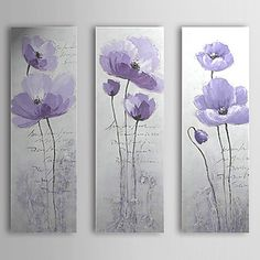 Hand Painted Oil Painting Floral Love with Stretched Frame Set of 3 1309C-FL0853 – USD $ 99.99
