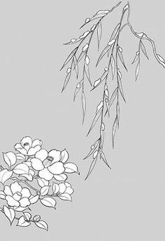 desenho de linha da fábrica japonesa vetor flores -16 material (