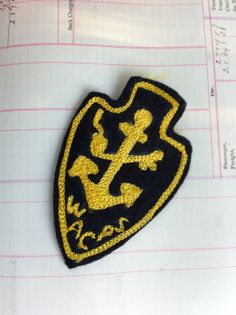 vintage crest patch with anchor by livingstonandporter on Etsy, $5.95
