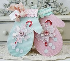 Sweet Shabby Chic Mitten Cards by Melissa Phillips