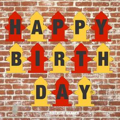 Fire Truck Party, Fire Truck Party Printables, fire hydrant birthday banner