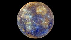 To the human eye, Mercury may resemble a dull, grey orb but this enhanced-colour image from NASA's Messenger probe, tells a completely different story. Swathes of iridescent blue, sandy-coloured plains and delicate strands of greyish white, create an ethereal and colourful view of our Solar System's innermost planet.