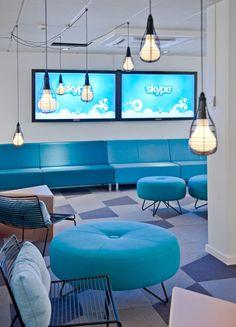 Skype blue office interior. // #bafco #bafcointeriors Visit www.bafco.com for more inspirations.