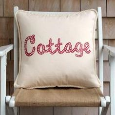 """Cottage Coastal pillow collection """"Salty Air"""" w/Boat Rope lettering design. Hand block printed using water based inks onto cotton canvas, natural color. Zipper closure in the back. Red Cottage, Coastal Cottage, Coastal Homes, Coastal Decor, Coastal Living, Seaside Decor, Cottage Style, Coastal Entryway, Coastal Farmhouse"""