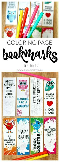 Free printable bookmark coloring pages | Great for kids and reluctant readers. There are two set of coloring page bookmarks available: cute little monsters and fun adorable owls. Download and print one or both sets! | OHMY-CREATIVE.COM