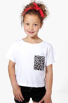 #boohoo Leopard Pocket Tee - white KZZ98404 #Girls Leopard Pocket Tee - white