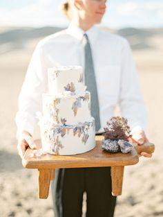 Artistic Gemstone Wedding Cake in Amethyst and Gold | Connie Whitlock Photography | http://heyweddinglady.com/organic-intimate-desert-wedding-great-sand-dunes/