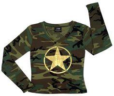 Camouflage Shirts Womens Camo Star Long Sleeve T-Shirts Womens Camouflage  $15.01
