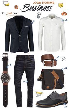 Look homme Business Chic composé d'un blazer d'une chemise blanche et de chaussures de ville. Mode Homme 2016 2017